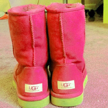 UGG Short boots antiskid warm lazy sheep fur simple ugg boots canister boots Fresh Watermelon red