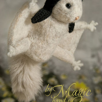 Felted squirrel, felt animal, wool creature, exotic