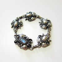 Arts & Crafts Sterling Moonstone Bracelet - Signed and Hallmarked
