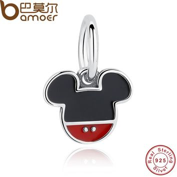Spring Collection 925 Sterling Silver Mick Mouse Charm Pendant Fit Necklace Original Jewelry PAS256