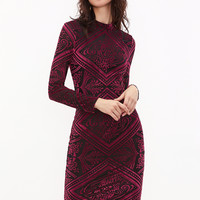 Burgundy Vintage Pencil Dress