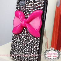 Studded iPhone 6 iPhone 6Plus iPhone 4s Case Skull iPhone 4 Case Rhinestone Handmade Case Cover With Hot Pink Bow