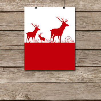 Deers printable - Deer print Christmas print Christmas printable Christmas decor Christmas decoration Christmas wall decor Deer wall decor