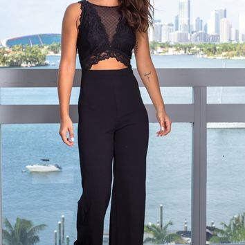 Black Lace Cut Out Jumpsuit