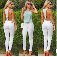Hollow Out Spaghetti Strap Green Summer Backless Tank Top = 5839451841