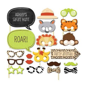 Set of 20 Fun Safari Jungle Animal Photo Booth Props on A Stick Baby Shower Kids First Birthday Party Decoration Centerpieces