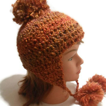 Crochet Ear Flap hat in Rust with Pom Pom Medium