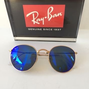 RAY BAN Sunglasses RB3532 001/68 Round Folding Gold Frame Blue Mirror 50mm Lens