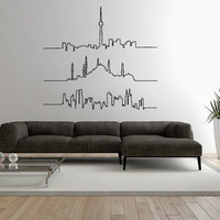 Wall Decal Vinyl Sticker Decals Art Decor Design Skyline NY Cites Bedroom Office Dorm (r1247)