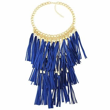 Suede Tassel Tier Necklace