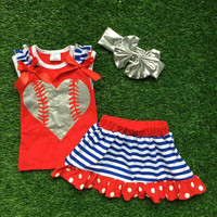 Girls Baseball Outfit, Toddler Baseball Outfit, Girls Baseball Skirt, Toddler Baseball Dress, Baseball T-Shirt, Ballgame outfit, 4th of July