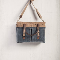 MONA B RECYCLED CANVAS RIVETED DENIM WOMEN'S MESSENGER BAG