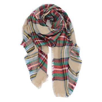 women men plaid blanket winter scarf warm cozy tartan wrap oversized shawl cape gift  number 1