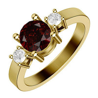 2.51CTW RED ROUND RUBY SOLITAIRE STUD 925 STERLING SILVER YELLOW RHODIUM RING