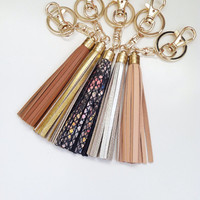Genuine Leather Keychains / Bag Charms Tassels - For keys or purses Designer Handbags Inspired
