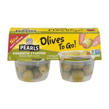 Pearls Olives to Go! Spanish Green Olives Pimiento Stuffed - 4 CT - Walmart.com