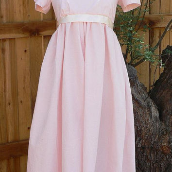 Regency Cotton Dress Jane Austen Capped Sleeve Gown Historical Empire Costume