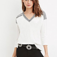 Embroidered V-Neck Peasant Top