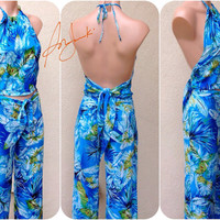 Women's Wrap Around Pants, Beach Halter Top, Beach Pants, Matching Vacation Set, Tropical, Backless, Sleeveless Shirt
