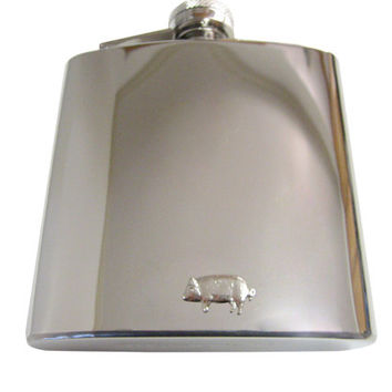 Pig Pendant 6 oz. Stainless Steel Flask