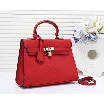 Hermes New fashion leather shoulder bag women handbag Red