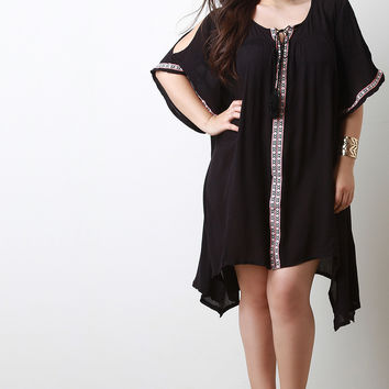 Embroidery Cold Shoulder Sharkbite Peasant Dress