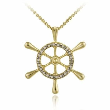 18K Gold over Sterling Silver Diamond Accent Anchor Pendant