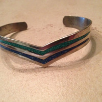 Vintage Mexican Bracelet Alpaca Silver Green Blue Inlay Mexico Jewelry