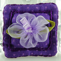 Miniature Purple Decorator Pillow Dolls House Fairy Garden 1:12 Scale Shadow Box Cotton Fabric Polka-Dot Floral Handmade Accessory Décor