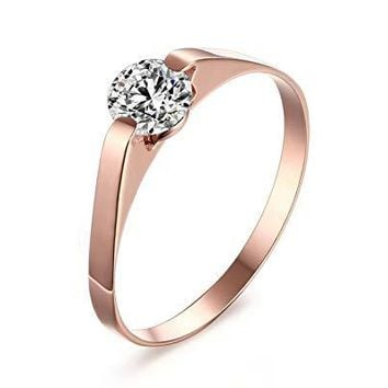 VNOX Customize Stainless Steel Cubic Zirconia Tension Set Rose Gold Plated Brilliant Wedding Engagement Ring