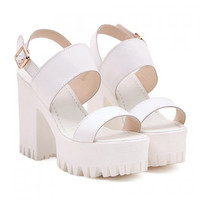 White Platfrom Open Toe Strap Sandals