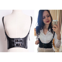 Sexy Women Push Up Bust Strap Corset Women Black Wide belt Lady Suspender Faux Leather Super Cool