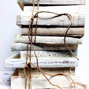 Painted Books, White Books, Books for Decor, Industrial Decor Books, Rustic Books, Shabby Book Decor, Book Centerpiece, French Home Books