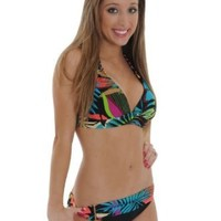 Amazon.com: Womens Halter Top Bikini Bottoms 2 pc Set Savannah Print Swim Systems: Clothing