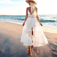 Long White Sleeveless Lace Stitch Dress