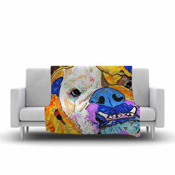 "Rebecca Fisher ""Tucker"" Bulldog Fleece Throw Blanket"