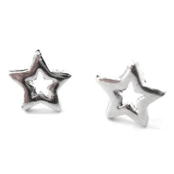 Universe Themed Star Shaped Stud Earrings in Silver | DOTOLY