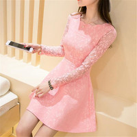 Women Long Sleeve Lace Floral Short Party Evening Cocktail Mini Short Dress WRBB