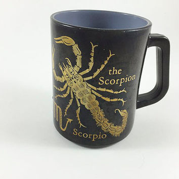 Vintage Horoscope Zodiac Mug Federal Glass Scorpio The Scorpian Coffee Cup Astrology Mug Coffee Mug Scorpio Mug Black And Gold Zodiac Mug