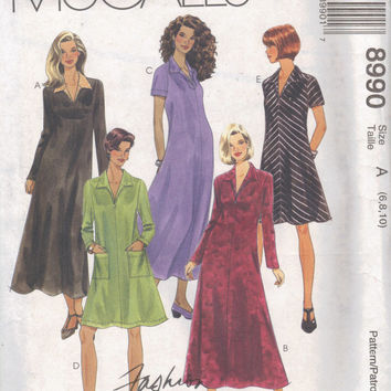 McCall's 90s Sewing Pattern Basic A-line Dress Maxi or Midi Length Pullover Long Short Sleeves Wide Pointed Collar Loose Fit Uncut Bust 32