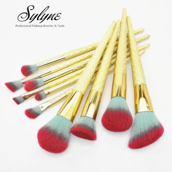 Sylyne 10pcs Makeup Brushes Professional Gold Unicorn Blending Powder foundation highlighter contour eyebrow make up brush set.