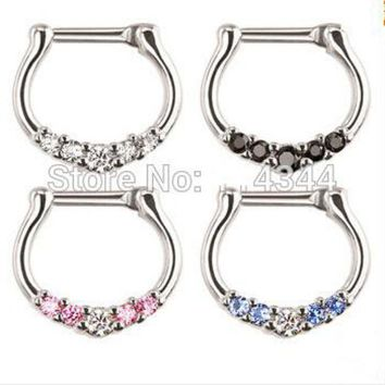 ac DCCKO2Q 1pcs Nose Ring body piercing jewelry colorful Surgical Steel CZ Clicker Small Hoop Septum Jewelry