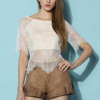 Lace Flames Crop Top White
