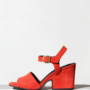 Open Toe heeled Suede Sandals