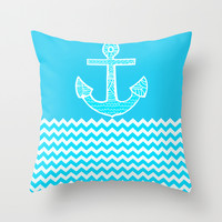 Anchor Throw Pillow by Haroulita