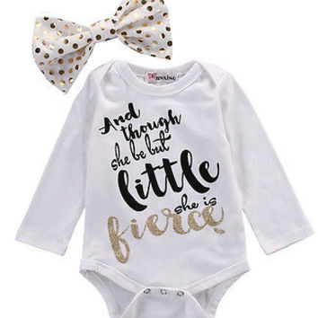 Newborn Girl Baby Cotton Bodysuit+Headband Infant Clothes 2Pcs Set Outfit Baby One-Pieces Stuff