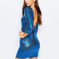 TFNC Allover Sequin Mini Dress with Deep Back and 3/4 Sleeve