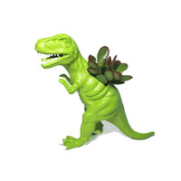 Up-cycled Lime Green T-rex Dinosaur Planter