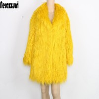 Nerazzurri Jacket Women's winter Coat Faux Fur Women Long Sleeve Yellow Elegant Fluffy  Shaggy Fake Fur Coats Female outerwear