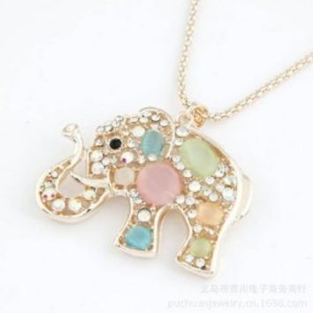 Gold Edge Rhinestones Elephant Pendants Necklaces Lucky Long Chain Jewelry for Christmas,100489 (b)